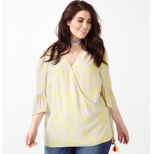 Melissa McCarthy Seven7 wrap blouse with tassels